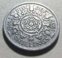 GREAT BRITAIN  UK  1957 ONE FLORIN  TWO SHILLINGS  COIN   QU