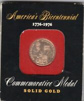 COMMEMORATIVE USA MEDAL AMERICA'S BICENTENNIAL 1776 TO 1976 10K SOLID GOLD