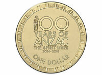 AUSTRALIA 2017 $1 100 YEARS OF ANZAC COIN UNC FROM MINT BAG
