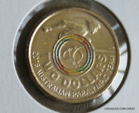 2016 $2 DOLLAR PARALYMPIC MULTI COLOUR CENTRE  CIRCULATED DECIMAL  COIN KRE60