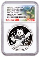 2017 S CHINA PANDA 30G SILVER SINGAPORE INT'L SHOW NGC PF69 UC ER   MINTAGE 500