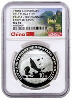 2016 CHINA 10Y 30G SILVER PANDA 120TH ANV OF SHENYANG MINT NGC MS69 ER