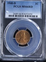 1940-D 1C RD LINCOLN CENT 3 PCGS MINT STATE 66RD