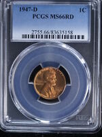 1947-D 1C RD LINCOLN CENT 5 PCGS MINT STATE 66RD
