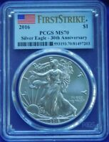 2016 SILVER AMERICAN EAGLE 30TH ANNIVERSARY  PCGS MS 70 FIRST STRIKE 1ST 30 DAYS
