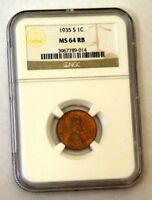 1935-S LINCOLN CENT - NGC MINT STATE 64RB