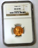 1948-D LINCOLN CENT - NGC MINT STATE 66RD