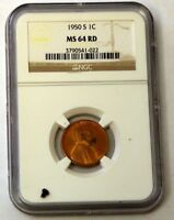 1950-S LINCOLN CENT - NGC MINT STATE 64RD