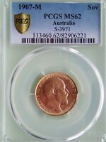 1907 M EDWARD VII GOLD SOVEREIGN PCGS MS62