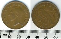 NEW ZEALAND 1944   1 PENNY BRONZE COIN   KING GEORGE VI   TUI BIRD   WWII