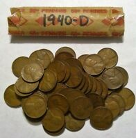 1940-D ROLL OF LINCOLN WHEAT CENT COIN PENNY AVERAGE CIRCULATED SOLID DATE ROLL