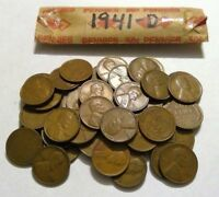 1941-D ROLL OF LINCOLN WHEAT CENT COIN PENNY AVERAGE CIRCULATED SOLID DATE ROLL