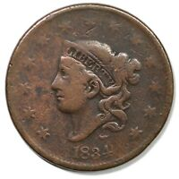 1834 N 5 R 5 LG STARS LG DATE MED LET MATRON OR CORNET HEAD LARGE CENT COIN 1C