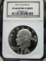 1971-S SILVER EISENHOWER IKE PROOF 68 ULTRA CAMEO AS GRADED BY NGC PF 68 ULTRA