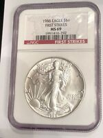 1988 $1 AMERICAN 1 OZ SILVER EAGLE NGC MINT STATE 69 -  FIRST STRIKE - BEAUTIFUL COIN
