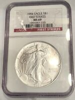 1994 $1 AMERICAN 1 OZ SILVER EAGLE NGC MINT STATE 69 -  FIRST STRIKE - BETTER DATE