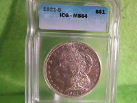 1921 S MORGAN SILVER DOLLAR GRADED MINT STATE 64 BY ICG