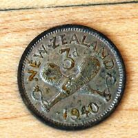 1940 NEW ZEALAND 3 PENCE SILVER