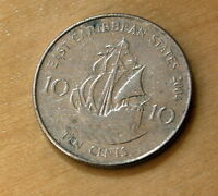 2004 EAST CARIBBEAN STATES 10 CENTS GOLDEN HIND
