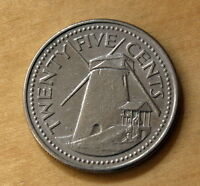 1990 BARBADOS 25 CENTS WINDMILL