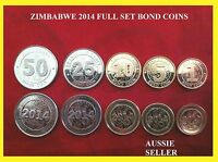 5 ZIMBABWE COIN 2014  5 X   BOND COINS MINT UNC 1 5 10 25 50 CENTS NEW ISSUE