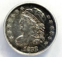 1832 CAPPED BUST HALF-DIME, ANACS EF 45 LM-13, RAINBOW TONING