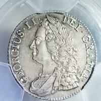 1743 GREAT BRITAIN SILVER SHILLING GEORGE II AU 58 PCGS BEAUTIFUL COIN