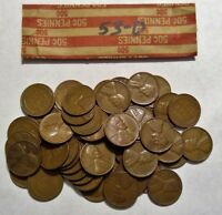 1953-D ROLL OF LINCOLN WHEAT CENT COIN PENNY AVERAGE CIRCULATED SOLID DATE ROLL