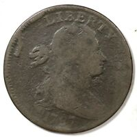 1797 S-131 R-2 REV OF '97, STEMLESS DRAPED BUST LARGE CENT COIN 1C