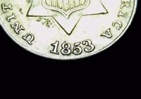 1853 3 CENT SILVER W/ REPUNCHED DATE