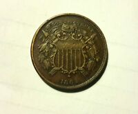 1864 TWO CENT COIN SMALL MOTTO
