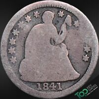 1841  H10 TYPE 3, STARS ON OBVERSE SEATED LIBERTY HALF DIME  AG ABOUT GOOD