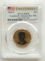 2015 LYNDON JOHNSON COIN AND CHRONICLES SET PCGS PR70 & MS70 FIRST STRIKE