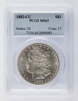 1882-CC $1 MORGAN DOLLAR GRADED BY PCGS AS MINT STATE 63 GORGEOUS STRIKE