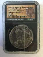 ANTIQUED WHITE HORSE OF CONQUEST 1OZ SILVER NGC MS69 FOUR HORSEMEN OF APOCALYPSE