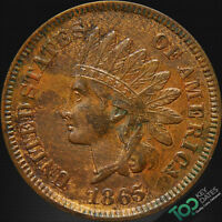 1865  1 FANCY 5 INDIAN CENT  AU ALMOST UNCIRCULATED  2082AOU2
