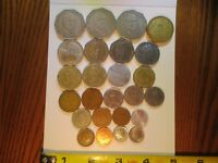 WORLD COINS    LOT OF 25 VARIETY OF COUNTRIES DENOMINATIONS CONTENTS AND SIZES