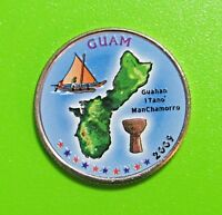 2009 D 25C GUAM US TERRITORIES QUARTER   COLORIZED   UNCIRCULATED
