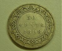 1898 NEWFOUNDLAND SILVER 50 CENTS   SMALL W COIN