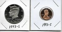 1993 S KENNEDY PROOF HALF DOLLAR LINCOLN CENT