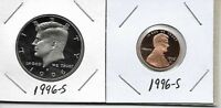 1996 S KENNEDY PROOF HALF DOLLAR LINCOLN CENT