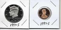 1997 S KENNEDY PROOF HALF DOLLAR LINCOLN CENT