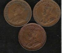 LOT OF 3 CANADA ONE CENT PENNY  1921 1934 1936   EXCELLENT   BETTER GRADE