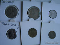 6 X MIXED WORLD COIN'S GENERAL MIX MODERN WORLD IN 2X2 HOLDERS PZM30