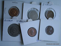 6 X MIXED WORLD COIN'S GENERAL MIX MODERN WORLD IN 2X2 HOLDERS VRY40
