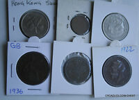 6 X MIXED WORLD COIN'S GENERAL MIX MODERN WORLD IN 2X2 HOLDERS VRY50