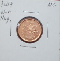 2007 LOGO NONE MAGNETIC CANADIAN 1 CENT  FINISH : MS 65 NC; RED