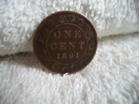 1891 CANADA LL SD LARGE ONE CENT COIN