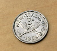 1939 NEW ZEALAND 3 PENCE SILVER