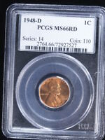 1948-D 1C RD LINCOLN CENT 2 PCGS MINT STATE 66RD